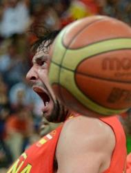 Spanish guard Sergio Llull reacts as he dunks against France during their London 2012 Olympic Games men's quarterfinal basketball match in London. Nursing bruises and a grudge, reigning European champion Spain will face Russia in an Olympic men's basketball semi-final after outlasting France 66-59 in a punishing physical matchup on Wednesday
