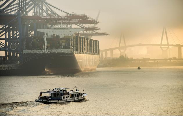 World's Largest Container Ship Docks At Hamburg Harbour