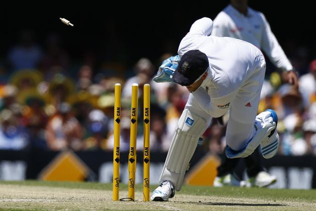 England's Prior runs out Australia's Haddin at the end of the inning during the second day's play of the first Ashes cricket test match in Brisbane
