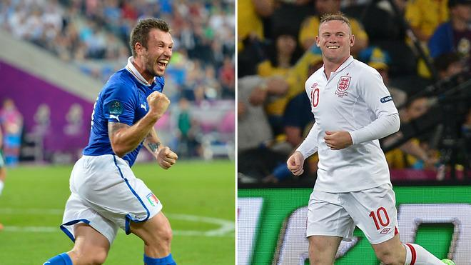 Italian Forward Antonio Cassano On June 18, 2012 At The Municipal Stadium In Poznan And English Forward Wayne Rooney ( AFP/Getty Images