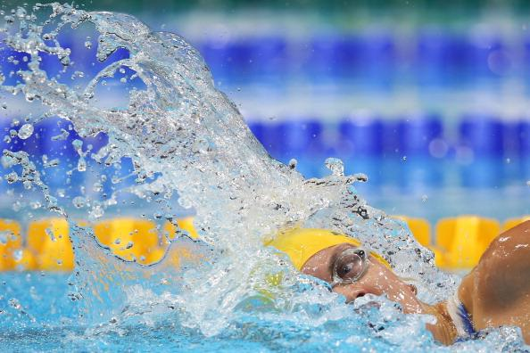 Jacqueline Freney of Australia is competes in the Women's 100m Freestyle - S7 final on day 5 of the London 2012 Paralympic Games at Aquatics Centre on September 3, 2012 in London, England. (Photo by C