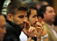 Barcelona's forward Cesc Fabregas attends a news conference in Barcelona. Barcelona's coach Pep Guardiola announced he is leaving the club at the end of the season, ending a four-year reign over one of the greatest eras in club football