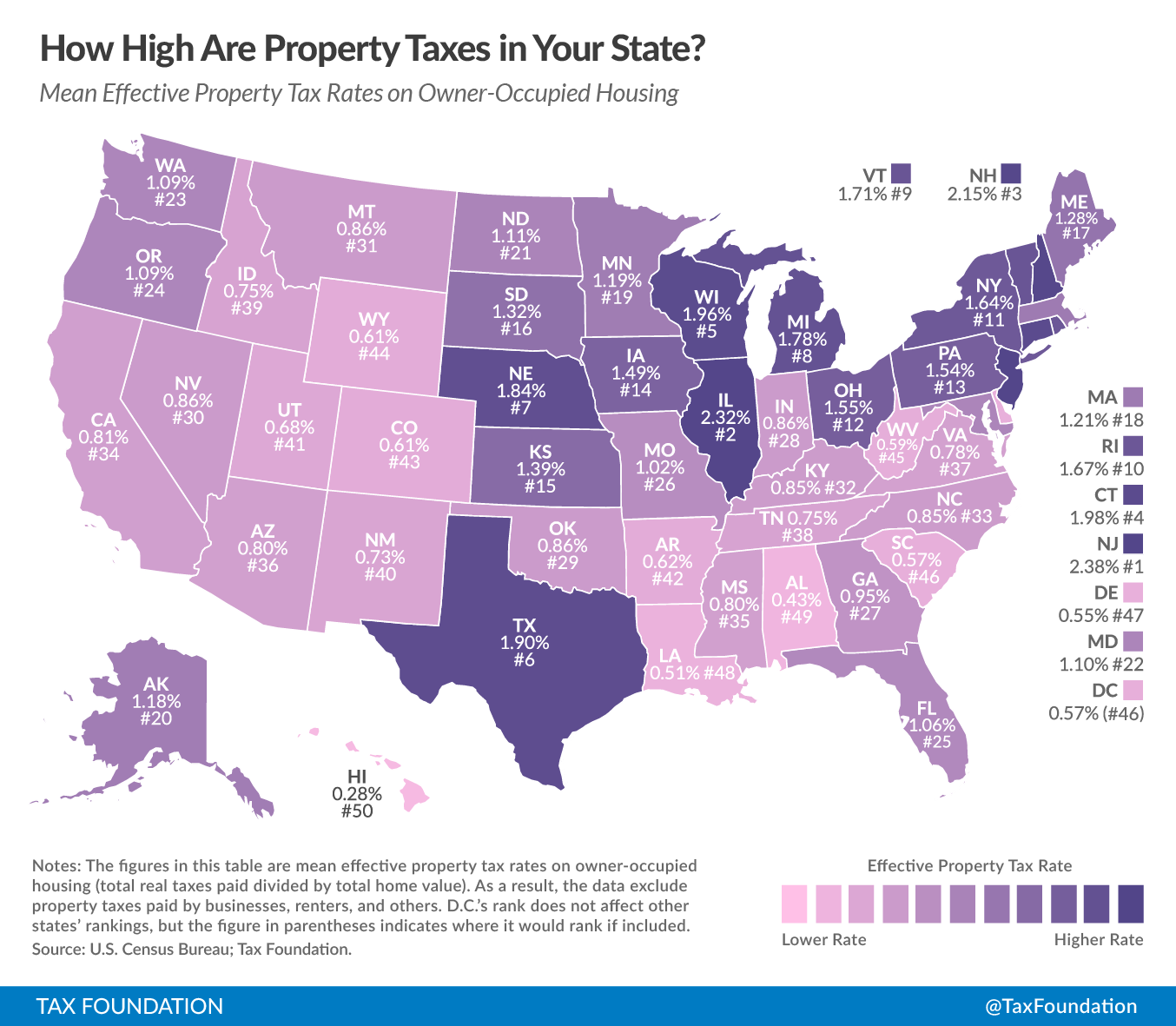 The 10 worst states for property taxes yahoo finance for Which state is good to live in usa