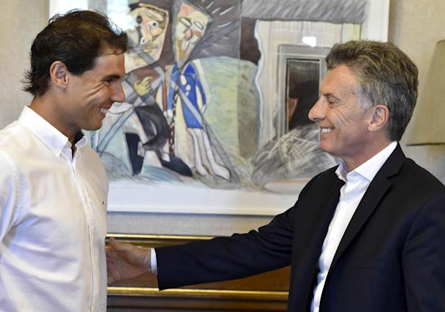 Argentina's President Macri talks to Spain's tennis player Nadal during a meeting at the Casa Rosada Presidential Palace in Buenos Aires
