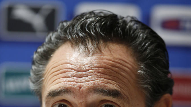 CAPTION CORRECTS NEGERIA TO NIGERIA - Italy's coach Cesare Prandelli speaks to the media during a press conference at Craven Cottage in London, Sunday, Nov. 17, 2013. Italy is to play a friendly soccer match against Nigeria on Monday Nov. 18 at Craven Cottage in London