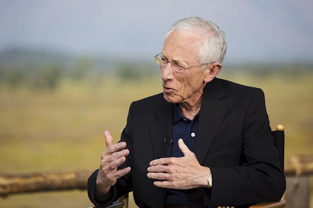 Federal Reserve Vice Chairman Stanley Fischer speaks during a TV interview during the Federal Reserve Bank of Kansas City's annual Jackson Hole Economic Policy Symposium in Wyoming