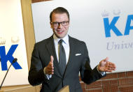 Prince Daniel of Sweden announces the birth of his first child to the press at the Karolinska University Hospital in Stockholm, Thursday, Feb. 23, 2012. Sweden's Crown Princess Victoria gave birth to her first child early Thursday, a baby girl that is second in line to the throne, her husband, Prince Daniel, said. (AP Photo/Jonas Ekströme) SWEDEN OUT