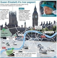 Events taking place in London during the holiday weekend marking Queen Elizabeth II's diamond jubilee, including the route of the 1,000-boat river pageant. Britons have begun four days of festivities for the queen's diamond jubilee, turning out in droves for events around the country in a surge of enthusiasm for the monarchy