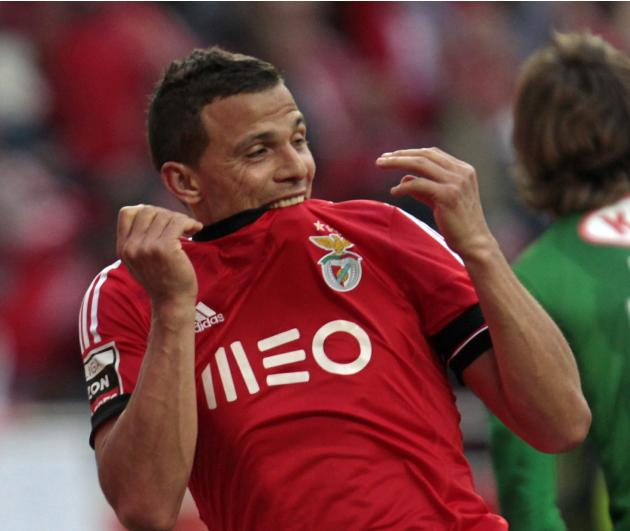 Benfica's Rodrigo Lima celebrates his goal against Olhanense during their Portuguese Premier League soccer match at Luz stadium in Lisbon