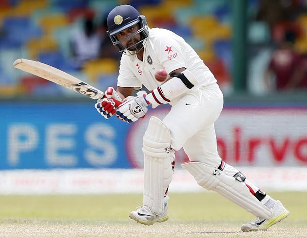 India's Mishra plays a shot during the fourth day of their third and final test cricket match against Sri Lanka in Colombo