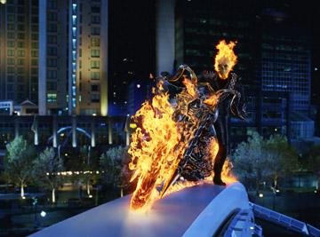 At night, in the presence of evil, stunt rider Johnny Blaze becomes the Ghost Rider in Columbia Pictures' Ghost Rider