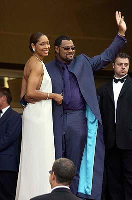 Gina Torres and Laurence Fishburne The Matrix: Reloaded Premiere Cannes Film Festival 5/15/2003