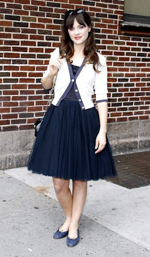 Zooey Deschanel outside The Late Show with David Letterman