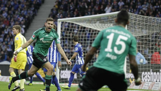 Schalke 04's Szalai reacts after scoring against Hertha Berlin during German first division Bundesliga soccer match in Berlin