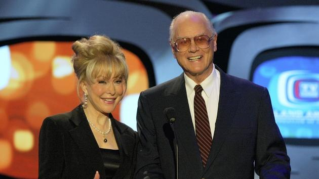 Barbara Eden and Larry Hagman present an award on stage at the 2nd Annual TV Land Awards at the Hollywood Palladium held on March 7, 2004 -- Getty Images