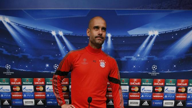 Football: Bayern Munich coach Josep Guardiola during the press conference