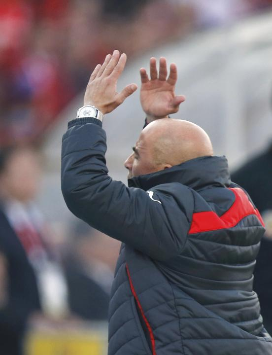 Chile head coach Jorge Sampaoli reacts during their Copa America 2015 final soccer match against Argentina at the National Stadium in Santiago