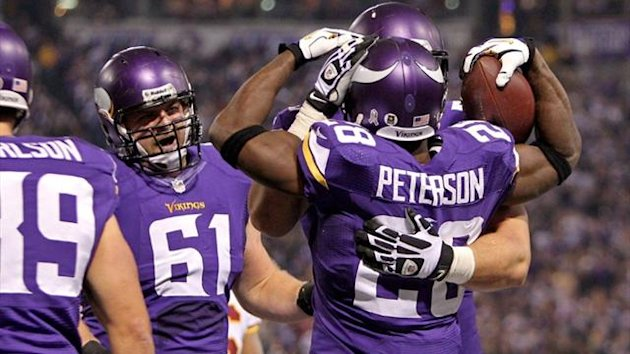 Adrian Peterson of the Minnesota Vikings celebrates (Reuters)