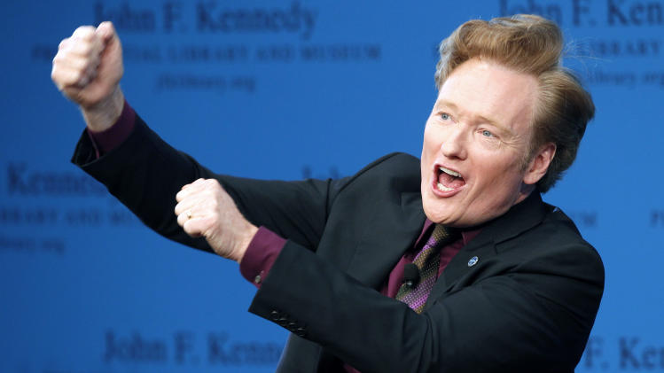 Conan O'Brien discusses his life and the art of comedy at the John F. Kennedy Presidential Library in Boston, Thursday, May 24, 2012. (AP Photo/Michael Dwyer)
