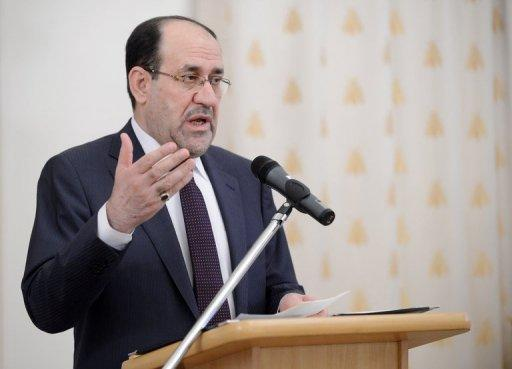 Iraqi Prime Minister Nuri al-Maliki delivers a speech at the ministry of foreign affairs in Moscow on October 8. Iraq wants a new start to improve its strained relations with Turkey and is extending an olive branch to its neighbour, Maliki said in an interview published on Thursday