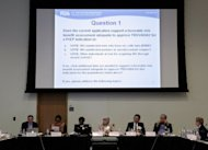 The US Food and Drug Administration (FDA) Antiviral Drugs Advisory Committee holds a meeting to vote on whether Gilead Sciences' Truvada should be approved as a preventative treatment for people who are at high risk of contracting HIV through sexual intercourse, on May 10, in Silver Spring, Maryland