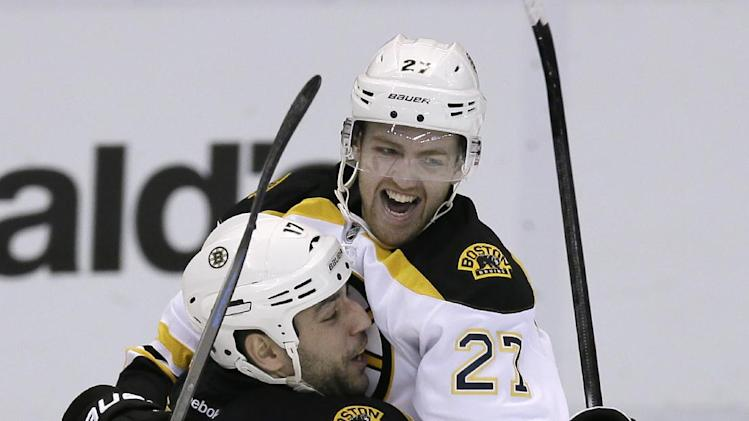Boston Bruins defenseman Dougie Hamilton (27) and left wing Milan Lucic (17) celebrate the Bruins' 3-2 overtime win against the Detroit Red Wings in Game 4 of a first-round NHL hockey playoff series in Detroit, Thursday, April 24, 2014. Jarome Iginla was credited with the goal with an assist by Hamilton