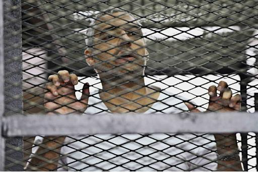 FILE - In this Thursday, May 5, 2014 file photo, Mohammed Fahmy, Canadian-Egyptian acting bureau chief of Al-Jazeera, appears in a defendant's cage along with several other defendants during their trial on terror charges at a courtroom in Cairo, Egypt. An Egyptian court has convicted three journalists for Al-Jazeera English on Monday, June 23, 2014, including Egyptian-Canadian Mohamed Fahmy, and sentenced them to seven years in prison each on terrorism-related charges. (AP Photo/Hamada Elrasam, File)
