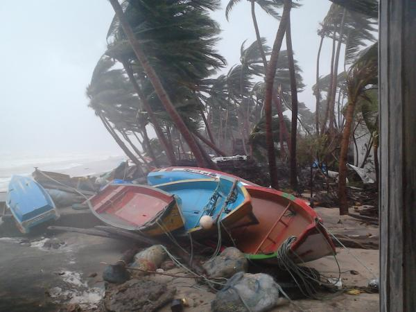 Boats tossed ashore by Cyclone Thane