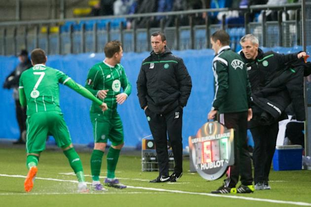Celtic manager Ronny Deila (C) insists the lessons learned by his squad will stand them in good stead in their quest for a domestic treble and a place in next year's Champions League qualifying ro