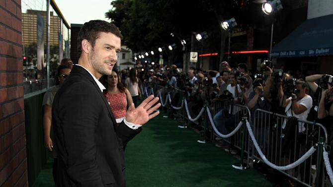 """Cast member Justin Timberlake attends the premiere of """"Trouble With the Curve"""" at the Westwood Village Theater on Wednesday, Sept. 19, 2012, in Los Angeles. (Photo by Matt Sayles/Invision/AP)"""