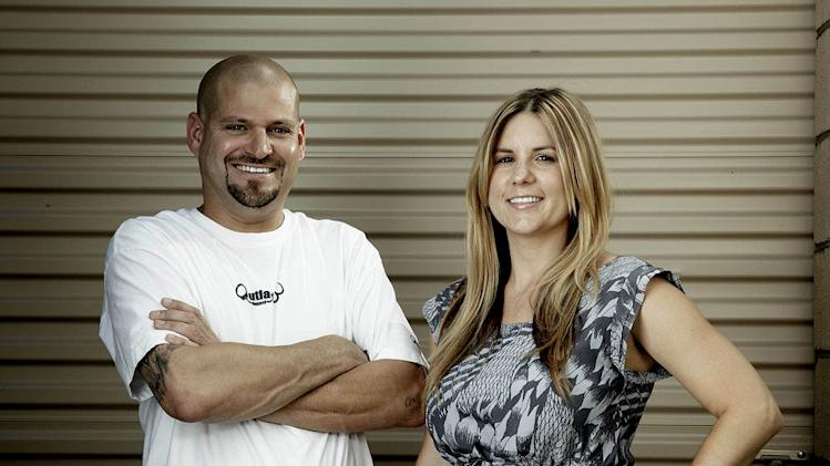 "Buyers Jarrod and his wife Brandi Schulz on ""Storage Wars."""