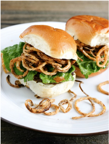 Tobacco Onion Ring Sliders with Apricot Chipotle Aioli