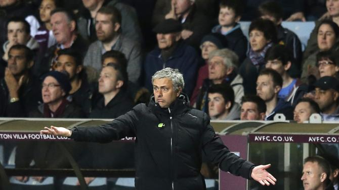 Chelsea manager Mourinho reacts during their English Premier League soccer match against Aston Villa at Villa Park in Birmingham