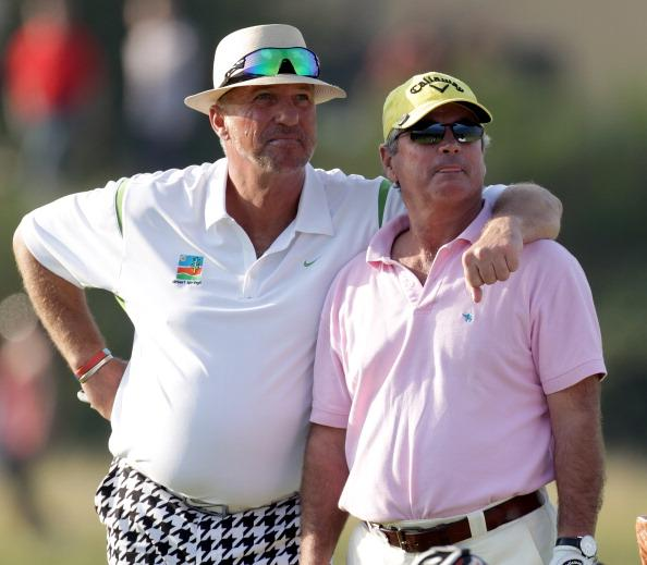 ST ANDREWS, SCOTLAND - SEPTEMBER 30: Sir Ian Botham and Allan Lamb on the 18th tee during the second round of The Alfred Dunhill Links Championship at The Old Course on September 30, 2011 in St Andrew