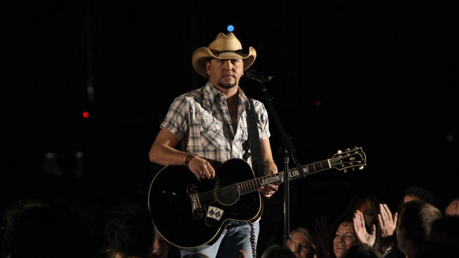 Jason Aldean performs at the 46th Annual Country Music Awards at the Bridgestone Arena on Thursday, Nov. 1, 2012, in Nashville, Tenn. (Photo by Wayde Payne/Invision/AP)
