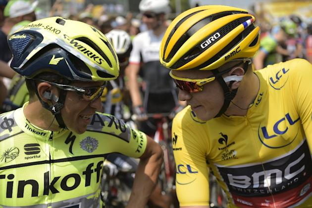 Australia's Rohan Dennis (right) speaks to Spain's Alberto Contador ahead of the start of the 166km second stage of the Tour de France on July 5, 2015