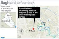 Graphic locating the district in Iraq's capital of Baghdad where a bombing at a cafe left at least 34 people dead and 50 wounded in one of nine attacks across the country on Sunday