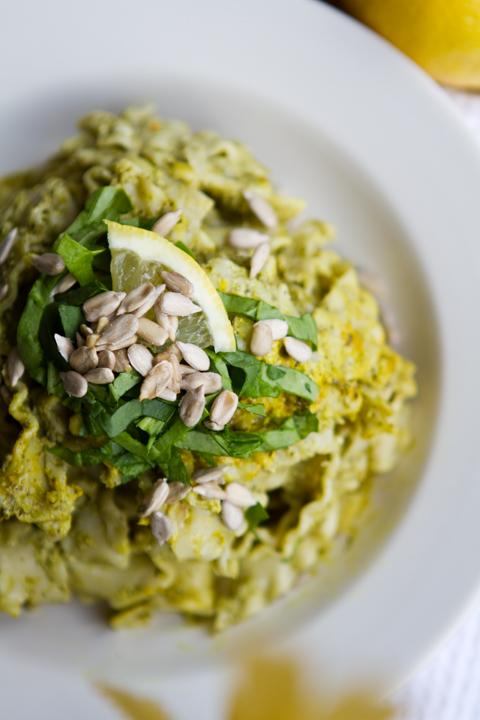 Lemon Sunflower Pesto Pasta