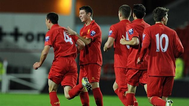 Liverpool players celebrate (NextGen Series)