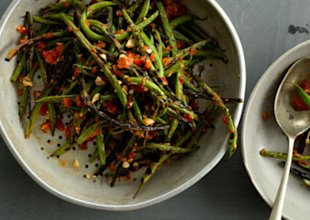 Charred Green Beans with Harissa and Almonds
