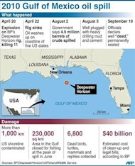 Graphic on the 2010 Deepwater Horizon disaster in the US that killed 11 oil rig workers and spilled 4.9 million barrels of crude oil into the Gulf of Mexico