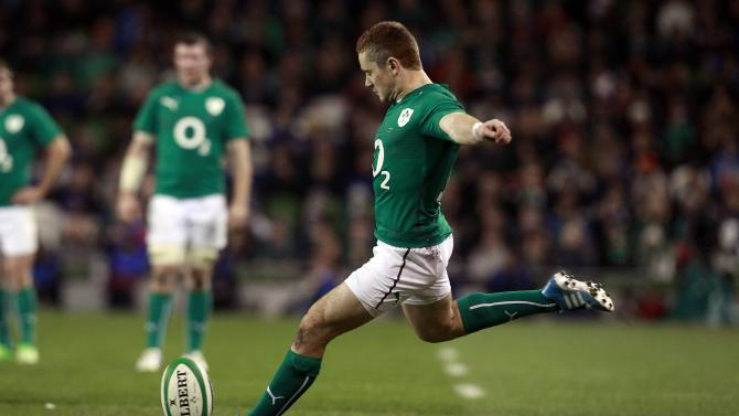 Ireland's Paddy Jackson kicks a conversion against Samoa in their International rugby union match at Aviva stadium in Dublin