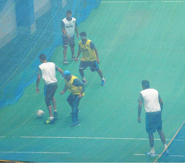 Indian Cricket team during practice session at Barabati Stadium ahead of 5th ODI match between India and Australia in Cuttack on Oct. 25, 2013. (Photo: IANS)