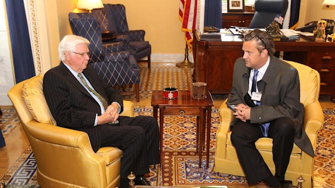 National Association of Drug Court Professionals All Rise Ambassador actor Matthew Perry, right, meets with Rep. Hal Rogers (R-KY), Chairman of the House Appropriations Committee, co-founder of the Congressional Caucus on Prescription Drug Abuse and the Youth Drug Caucus, to discuss Drug Courts as a solution to prescription drug abuse at the U.S. Capitol on Tuesday, May 7, 2013 in Washington, DC. (Paul Morigi / AP Images for National Association of Drug Court Professionals)