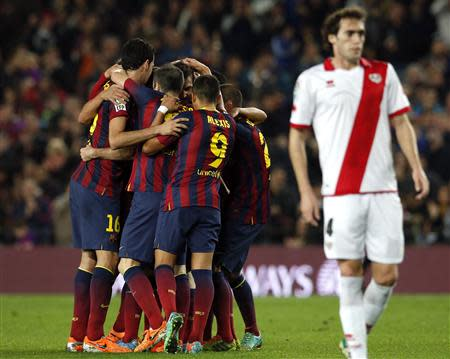 Barcelona's players celebrate a goal during their Spanish first division soccer match in Barcelona