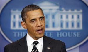 U.S. President Obama speaks from the briefing room of the White House in Washington