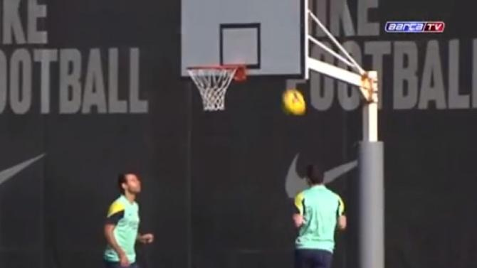 VIDEO: Can Messi score into a basketball hoop with his head? You bet he can
