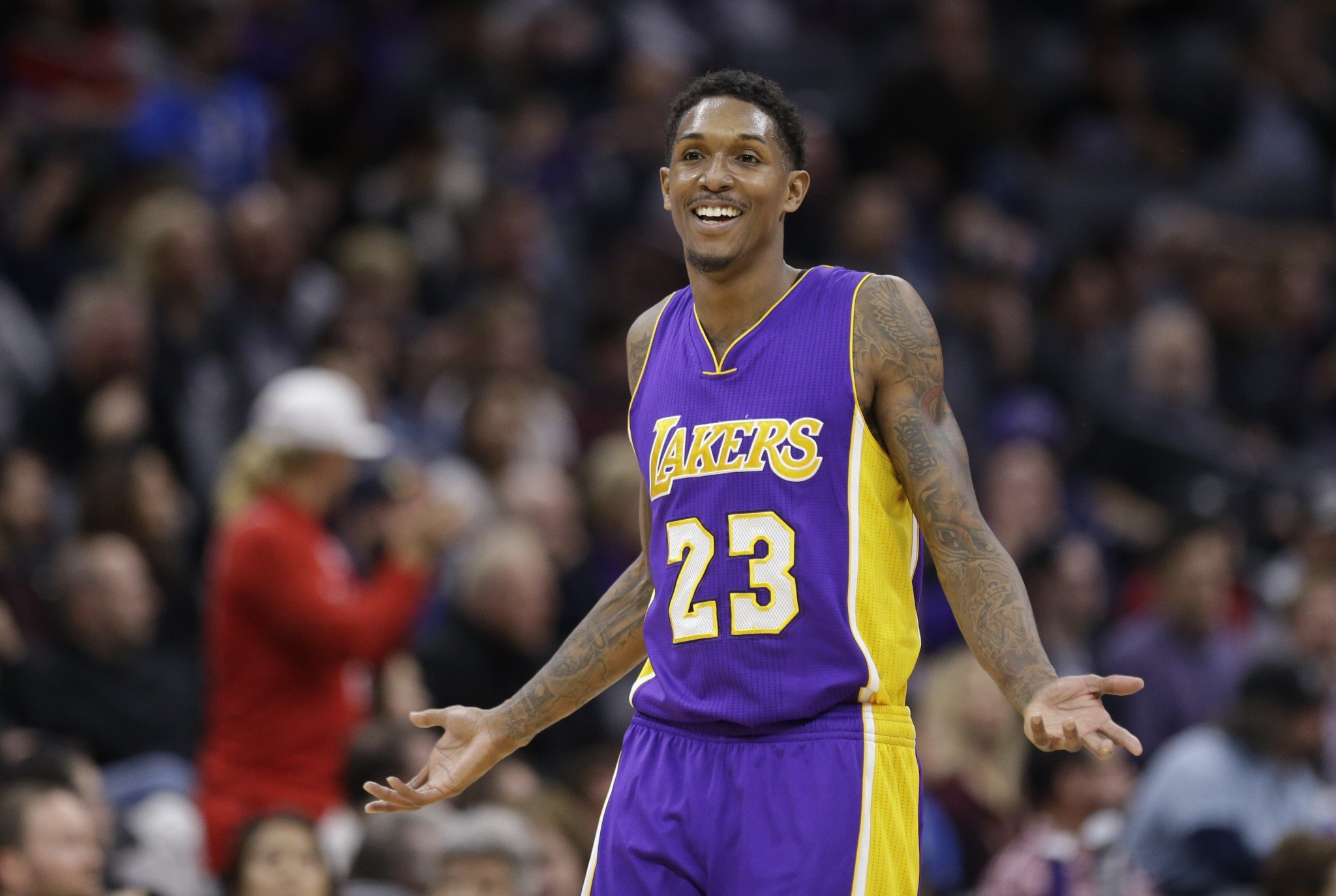 Lou Williams laughs and shrugs after learning that ballot was, like, for real. (AP)