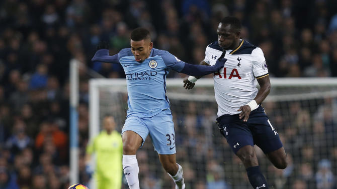 Manchester City's Gabriel Jesus in action with Tottenham's Moussa Sissoko