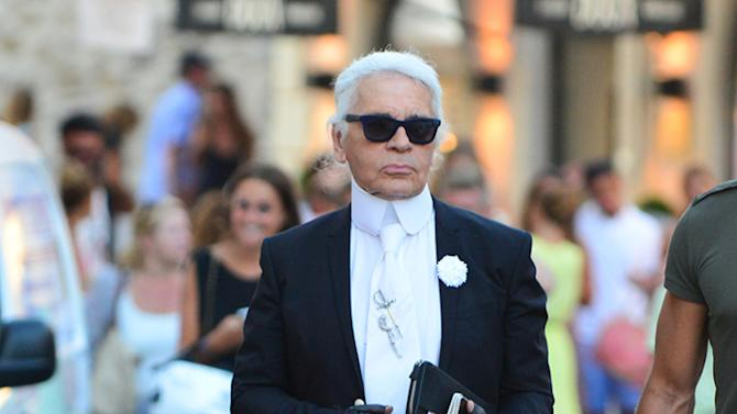 Karl Lagerfield, head designer for Chanel, does some shopping in Saint-Tropez